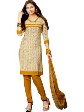 Triveni Polyester Printed Dress Material - Beige - TSSTHLSK8007