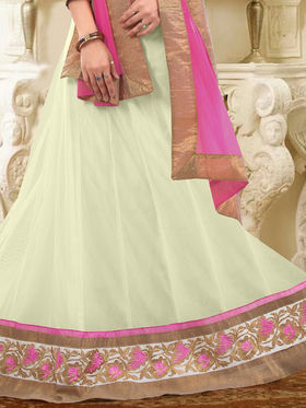 Triveni Satin - Net Embroidered Lehenga Choli - Brown and Off-White -TSSURG2009