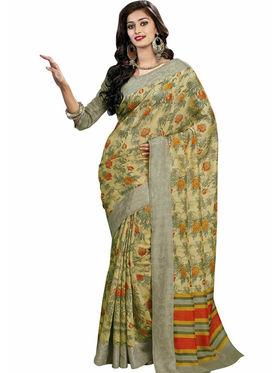 Triveni sarees Bhagalpuri Khadi Silk Printed Saree - Yellow