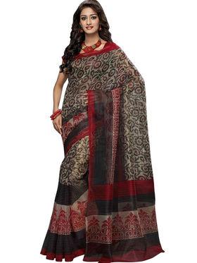 Triveni sarees Supernet Printed Saree - Multicolor - TSBL2083