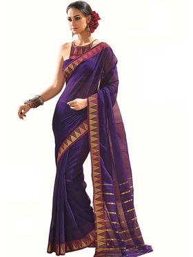 Nanda Silk Mills Plain Cotton Violet Saree -Tulip