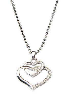 Urthn Silver Heart Shape Chain Pendant  - Silver - 1200745