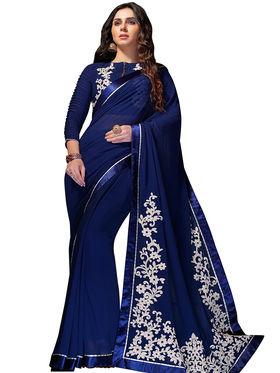 Nanda Silk Mills Georgette Embroiderd Saree -Vf-107