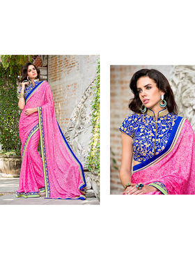Nanda Silk Mills Embroidered Pink  Saree_VR-2208