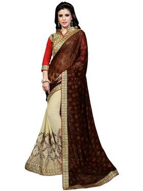 Khushali Fashion Embroidered Georgette Half & Half Saree_KF13