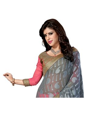 Khushali Fashion Embroidered Georgette Half & Half Saree_KF19