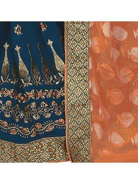 Khushali Fashion Embroidered Georgette Half & Half Saree_KF25