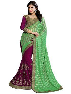 Khushali Fashion Embroidered Georgette Half & Half Saree_KF26