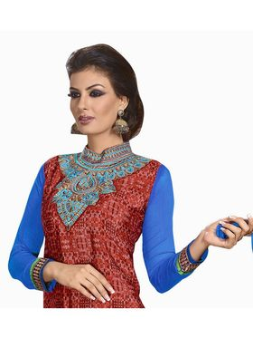 Khushali Fashion French Crepe Embroidered Dress Material -Vrvmtr6012