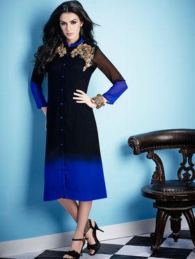 Viva N Diva Georgette Embroidered Kurti - Black & Blue - Ashley-P-22