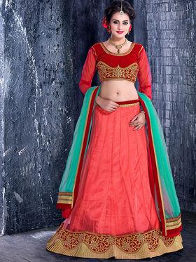 Viva N Diva Net Embroidered Lehenga - Red - 1