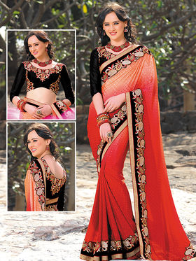 Viva N Diva Jacquard Embroidered Saree - Shaded Red  - 805