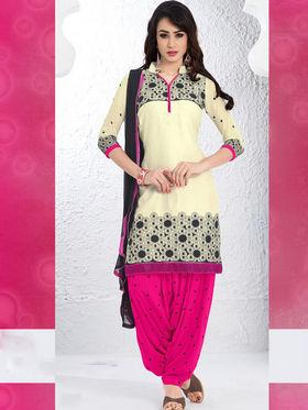 Viva N Diva Cotton Embroidered Dress Material - Beige