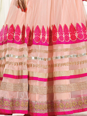Viva N Diva Semi Georgette Embroidered Dress Material - Light Dusty Pink