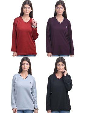 Pack of 4 Eprilla Spun Cotton Plain Full Sleeves Sweaters -eprl56