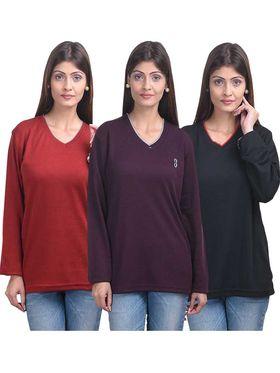 Pack of 3 Eprilla Spun Cotton Plain Full Sleeves Sweaters -eprl47