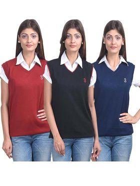 Pack of 3 Eprilla Spun Cotton Plain Sleeveless Sweaters -eprl18