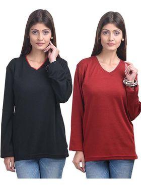 Pack of 2 Eprilla Spun Cotton Plain Full Sleeves Sweaters -eprl40