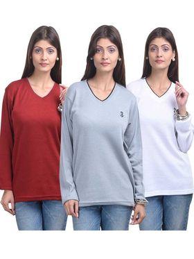 Pack of 3 Eprilla Spun Cotton Plain Full Sleeves Sweaters -eprl53