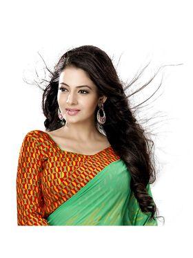 Khushali Fashion Georgette Saree(Green)_YNBJR20377