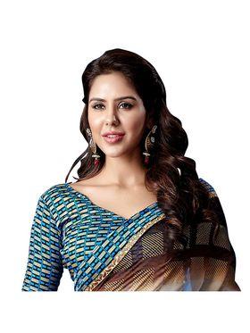 Khushali Fashion Georgette Saree(Cream,Blue,Brown)_YNDF10221