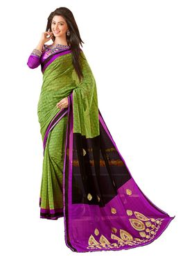 Khushali Fashion Embroidered Chiffon Half & Half Saree_KF77