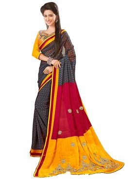 Khushali Fashion Embroidered Chiffon Half & Half Saree_KF80