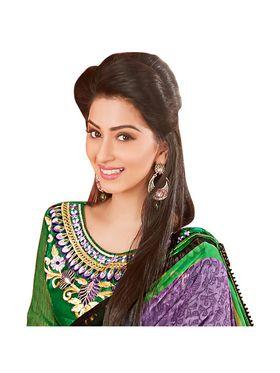 Khushali Fashion Embroidered Chiffon Half & Half Saree_KF81