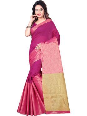 Zoom Fabrics Plain Cotton Silk Pink & Gold Saree -Zm4017C