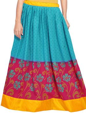 Blue and Magenta Cotton Printed Skirt_AY-SKI-RG7-649