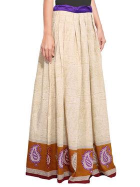 Beige Cotton Printed Skirt_AY-SKI-RG7-616