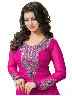 Khushali Fashion Georgette Embroidered Dress Material - Rani - tarzen08