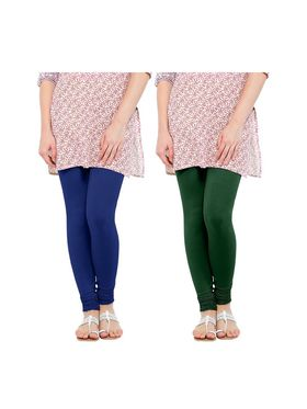Pack of 2 Oh Fish Solid Cotton Stretchable Leggings -zwe60