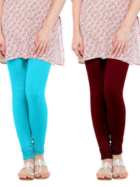 Pack of 2 Oh Fish Solid Cotton Stretchable Leggings -zwe18