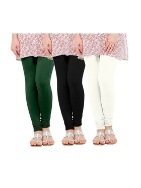 Pack of 3 Oh Fish Solid Cotton Stretchable Leggings -zwe64