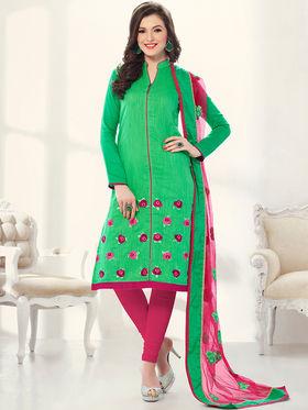 Viva N Diva Banarasi Chanderi Embroidered Dress Material - Green - Color-Blossom-1014