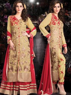 Viva N Diva Embroidered 2 in 1 Lehenga cum Salwar Suit - Beige - Aarvi-408