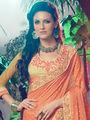 Indian Women Embroidered Marble & Georgette Orange & Beige Designer Saree -MG12309