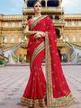 Viva N Diva Embroidered Georgette Red Saree -19490-Rukmini-04
