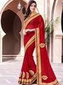 Indian Women Embroidered Georgette Red Designer Saree -GA20369