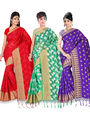 Pack of 3 Adah Fashions Printed South Silk Saree -adf09