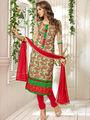 Adah Fashions Chanderi Embroidered Semi Stitched Salwar Kameez - Multicolour - 639-7007