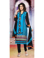 Adah Fashions Embroidered Georgette Semi-Stitched Pakistani Salwar Suit - Turquoise & Black