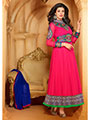 Adah Fashions Embroidered Faux Georgette Semi-Stitched Anarkali Suit - Fuchsia
