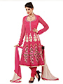 Adah Fashions Embroidered Net Semi-Stitched Anarkali Suit - Pink