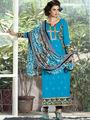 Arisha Enterprises Pure Cotton Embroidered Dress Material - Blue - ARA410