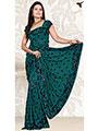 Designer Sareez Embroidered Faux Georgette Saree - Teal-132