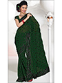 Embroidered Faux Georgette Saree - Bottle Green-215