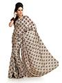 Printed Khadi Silk Saree - Beige-996