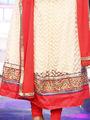 Elegant Off-white & Red Anarkali Designer Dress Material from Aaha Enna Porutham (702)